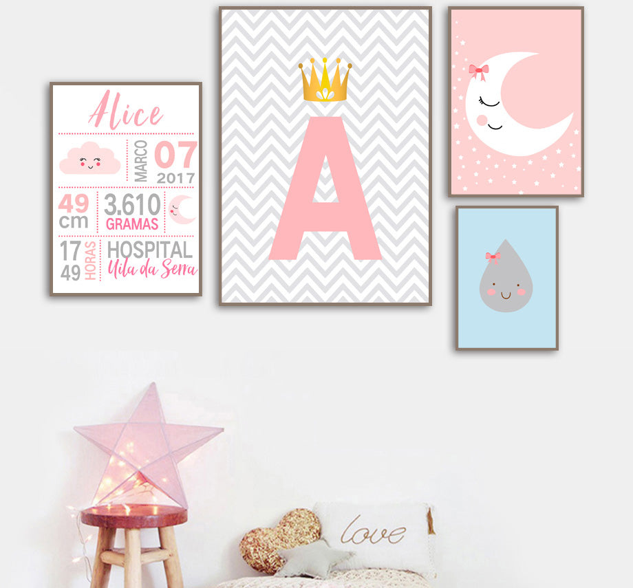Customized Name Letters Birth Illustrations Poster Print Wall Art Room Kids Decor - boo.bootik