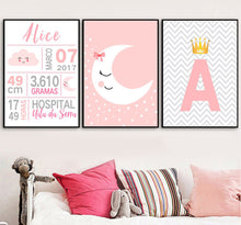 Load image into Gallery viewer, Customized Name Letters Birth Illustrations Poster Print Wall Art Room Kids Decor - boo.bootik