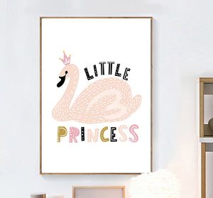 Kids Swan Little Princess Wild & Free Quote Illustration Gifts Girl Wall Art Canvas Decorative Pictures Poster Print Wall Art Room Kids Decor - boo.bootik