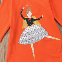 Load image into Gallery viewer, Ballerina Dancer Applique Orange Girls First Birthday Party Casual Dress - boo.bootik