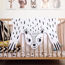 Load image into Gallery viewer, Cotton Tiger Lion Bear Panda Fox Raccoon Black and White Blanket | Play Mat Nursery Baby Kids Decor - boo.bootik