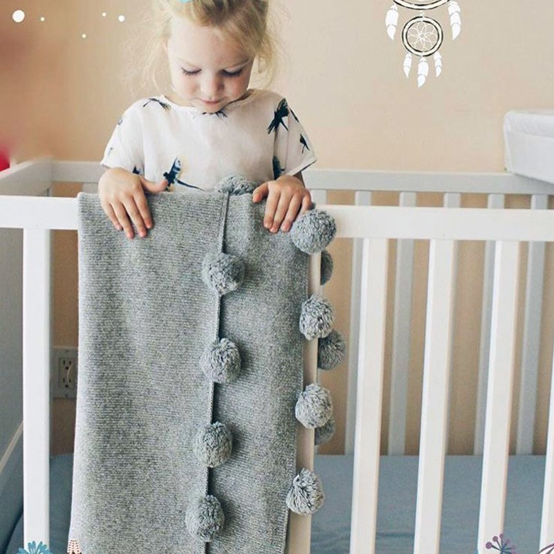 Pom Pom Grey Baby Kids Blanket Nursery Kids Decor - boo.bootik