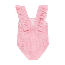 Load image into Gallery viewer, Baby Girl Toddler One Piece Stripy with Ruffles Swimsuit - boo.bootik