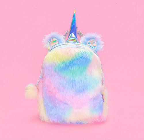 Unicorn Back to School Colorful Furry Backpack Bag Kawaii for Girls - boo.bootik
