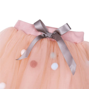PomPom layered Tulle Skirt for Baby Toddler Girls - boo.bootik