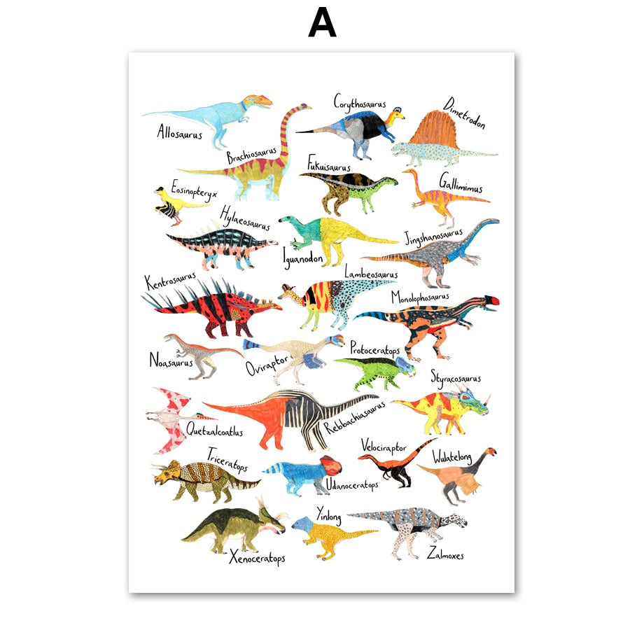 Dinosaur Wall Art Canvas Painting Posters & Prints for Kids - boo.bootik