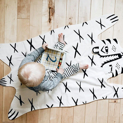 Cotton Tiger Lion Bear Panda Fox Raccoon Black and White Blanket | Play Mat Nursery Baby Kids Decor - boo.bootik