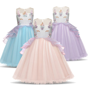 Unicorn Girls Party Prom Costume Evening Wedding Dress Floral Glitter Boobootik - boo.bootik