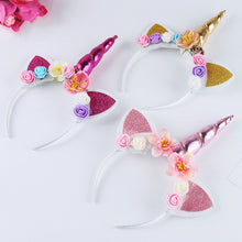 Load image into Gallery viewer, Unicorn Girls Headband Head Hoop Floral Glitter Boobootik - boo.bootik