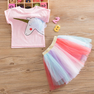 Unicorn Tulle and Shirt Matching Set for Girls - boo.bootik