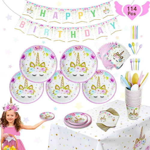 Pink Unicorn Party Supplies Set - 114 Pcs Totally 16 Guests - boo.bootik