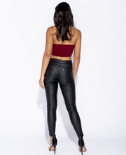 Load image into Gallery viewer, FREYA Multi Zip Skinny Leather Look Jeans