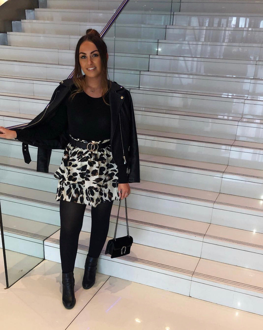 Lucy Two Tier Leopard Print Skirt