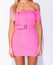 Load image into Gallery viewer, Barbie Vibes Dress - Pink Biker Bardot Style