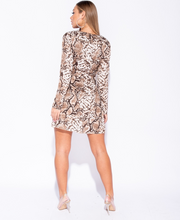 Load image into Gallery viewer, EVIE Snakeskin Wrap Front Mini Dress