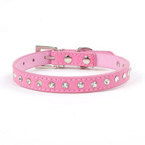 "Leather Small Dog ""Bling"" Collar with Rhinestones - lovethepup"