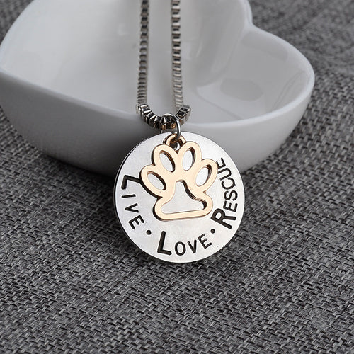 Beautiful LIVE LOVE RESCUE Pendant Necklace for the Adopted Dog Lover - lovethepup