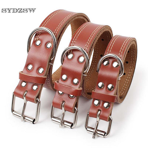 Quality Leather Collar for Big Dog Breeds - lovethepup
