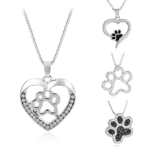 Silver and Crystal Animal Pet Lover Necklace - lovethepup