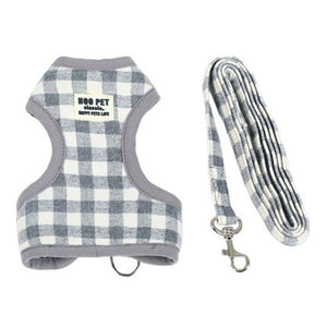 HOOPET Adjustable Small Pet Dog Cat Harness with Leash Square Stripes Cute  Puppy Soft Vest Harness - lovethepup