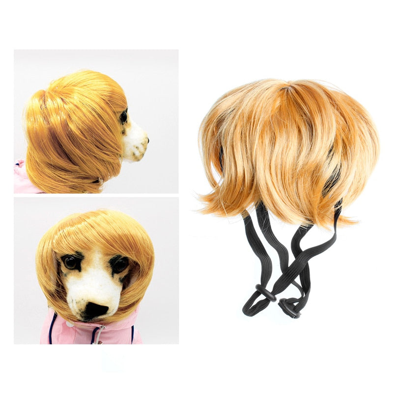 Pet hat Dog Cute Costumes Wavy Syethetic Hair Cat Wigs-gift Supplies Party Style - lovethepup