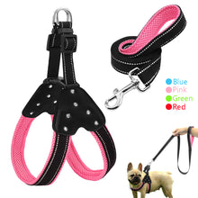 Reflective Nylon Rhinestone Dog Harnesses Step in Soft Mesh Padded Small Dog Puppy Harness Leash Set Safety For Walking S M L - lovethepup