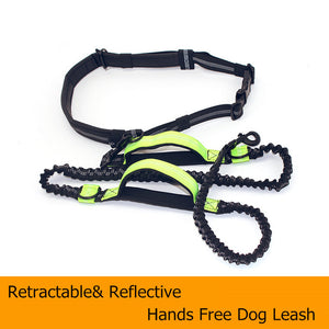 Hands Free Dog Leash With Adjustable Waist Belt and Reflective Stitching - lovethepup