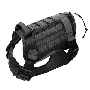 Tactical Dog Training Harness Military K9 Water Resistant Harness With Detachable Pouches/Patches for Large Dogs - lovethepup