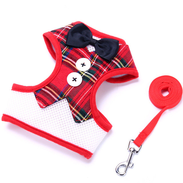 XPangle Dog Vest Pet Dog Harness Leash Set for Small Medium Dogs Bow Tie Formal Dress Plaid Puppy Harness Chest Strap Chihuahua - lovethepup