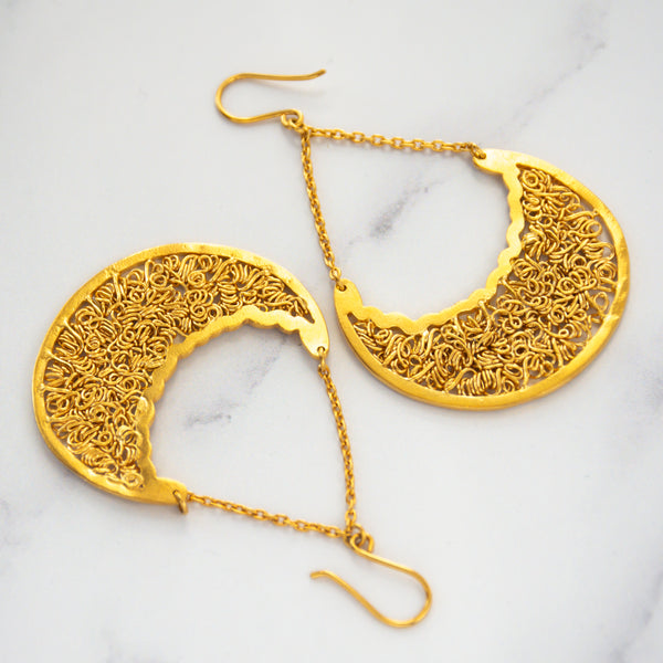 Cosmic Crescent  drop earrings(Medium)