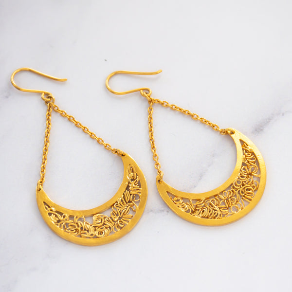 Cosmic Crescent drop earrings Small