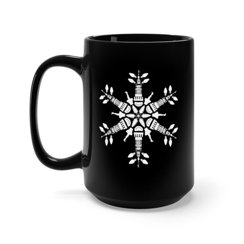 CLE FOR THE WINTER Snowflake Black Mug 15oz