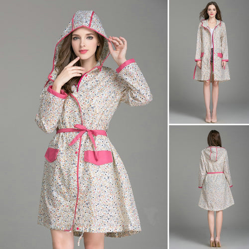 Floral Waterproof Raincoat With Belt
