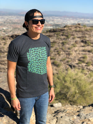 Arizona Cactus Agave Tee - Charcoal