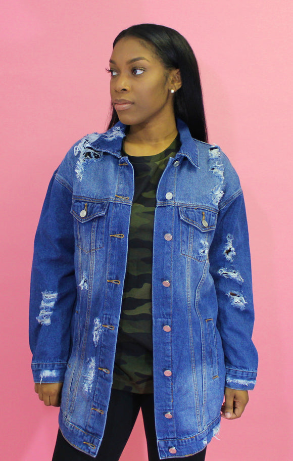 Longline Distressed Denim Jacket