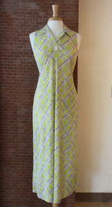 Sixties Lime Green Patterned Maxi Dress