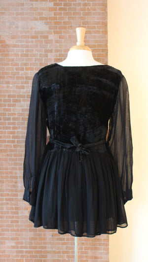 Goodbye Folk Black Velvet Minidress