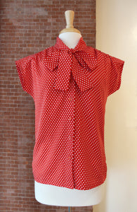 Red Bow Collar Dotted Shirt