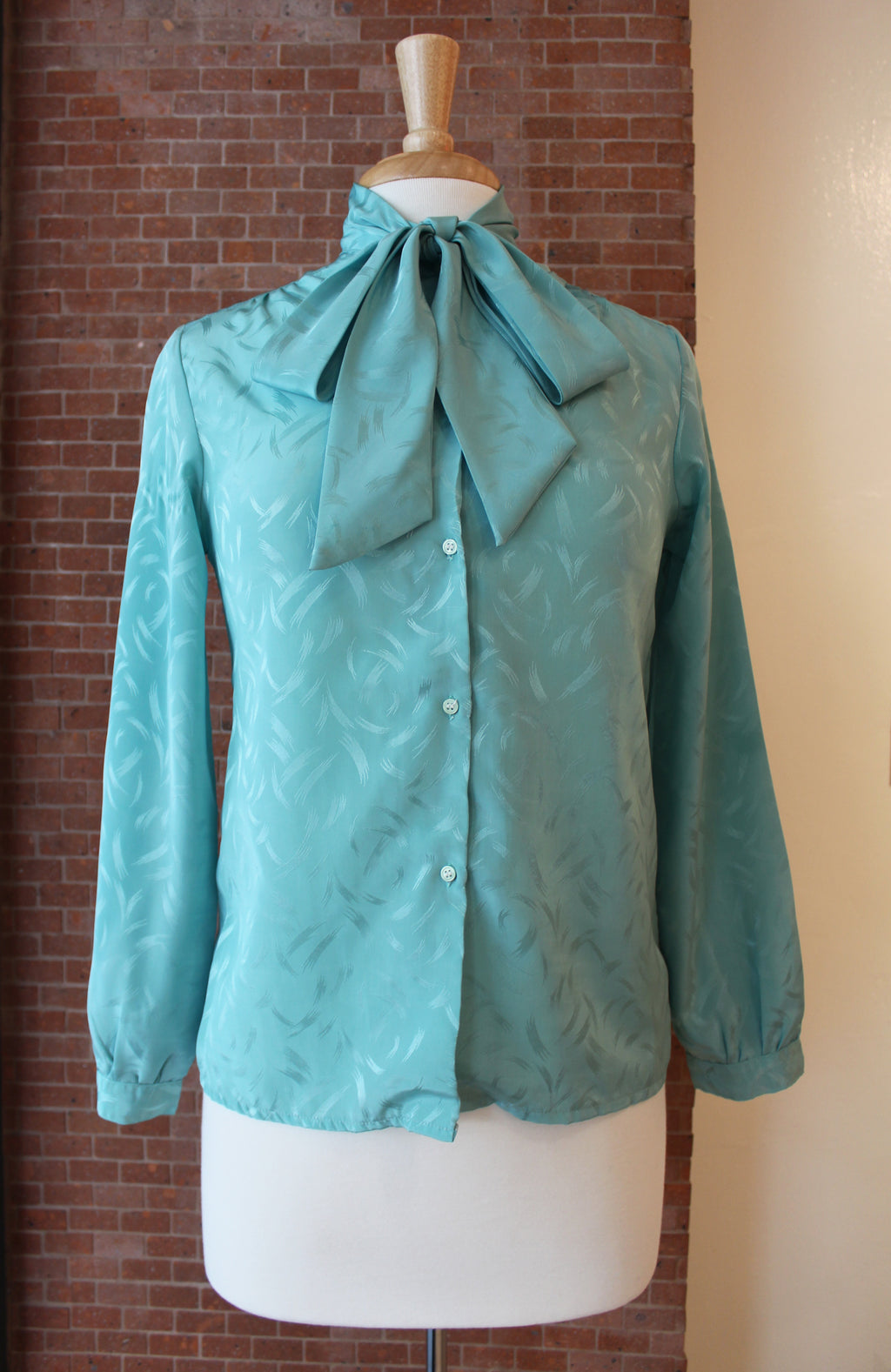 Mint Green Pussy Bow Blouse
