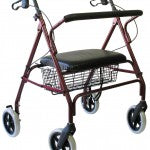 Karman R-4700 Extra Wide Bariatric Rollator with Padded Flip-down Seat, Steel, 24 lbs.