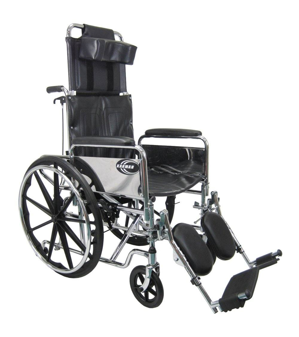 Reclining Wheelchairs - Karman KN-880 Reclining Wheelchair With Removable Armrest And Elevating Legrest -Self Propel