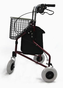 "Rollators - Karman R-3600 3 Wheel Rollator With Large 8"" Casters , Aluminum, 13lbs"
