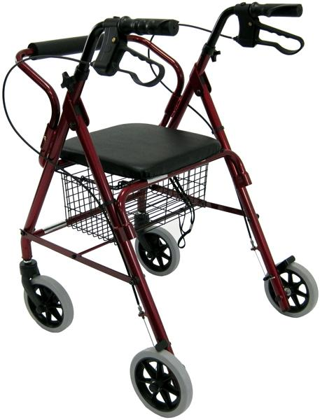 Rollators - Karman R-4100 Low Seat Junior Narrow Rollator With Loop Brakes, Padded Seat, And Basket