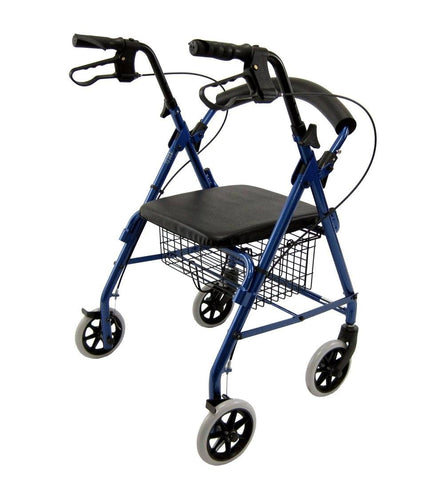Rollators - Karman R-4100 Low Seat Rollator With Loop Brakes, Padded Seat, And Basket