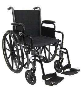 "Standard Wheelchairs - Karman LT-700T 20"" Height Adujustable Seat 36 Lbs. Lightweight Steel Wheelchair With Removable Armrest"
