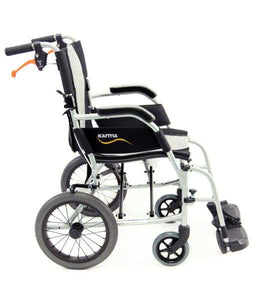 Transport Wheelchairs - Karman Ergo Flight 2512 Transport With Swing Away Footrest And Companion Brakes