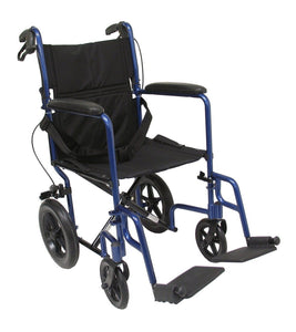 "Transport Wheelchairs - Karman LT-1000HB 19"" Seat 19 Lbs. Lightweight Transport Chair With Hand Brakes And Removable Footrest"