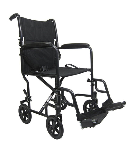 Transport Wheelchairs - Karman T-2019 Seat 23 Lbs. Steel Transport Chair With Removable Footrest