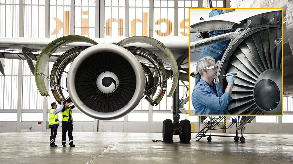 Airplane Technicians Working With Vyoocam Wearing