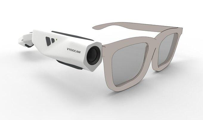 Vyoocam Camera Fitted on White Glasses